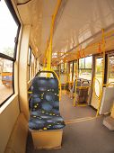 pic of tram  - Empty tram rides on the streets of the city  - JPG
