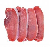 stock photo of pork chop  - Raw fresh meat pork chops isolated on white background - JPG