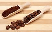 pic of coffee grounds  - Coffee beans and ground coffee on wooden spoon coffee grains on wooden background - JPG