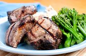 image of lamb chops  - grilled lamb chops with creamy mashed potatoes - JPG