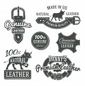 picture of black-belt  - Set of vector vintage leather belt logo designs - JPG