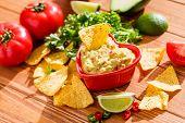 stock photo of cilantro  - Guacamole with avocado - JPG