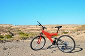 stock photo of suspension  - Modern Red Full Suspension Mountain Bike MTB Bicycle - JPG