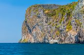 stock photo of phi phi  - The majestic cliffs of Phi Phi Island tropical paradise Thailand in the summer - JPG
