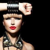 Постер, плакат: Beauty Punk Fashion Model Girl Rocker Style Model Portrait Fringe Hairstyle Rocker or Punk Woman