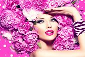 foto of vivid  - Beauty High Fashion Model Girl with pink Peony hair style - JPG