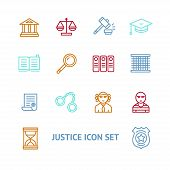 picture of justice  - Vector illustration  justice law colorful outline icon set   The concept of justice - JPG