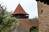 foto of fortified wall  - Medieval fortified church surrounded by defence walls - JPG