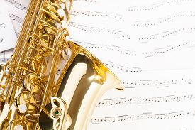 foto of musical scale  - Beautiful alto saxophone with detailed view of keys - JPG