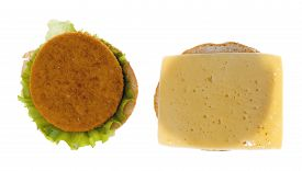stock photo of decomposition  - hamburger decomposition into two isolated on white background - JPG