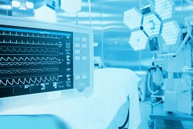 pic of hospital  - Monitoring of patient in surgical operating room in modern hospital - JPG