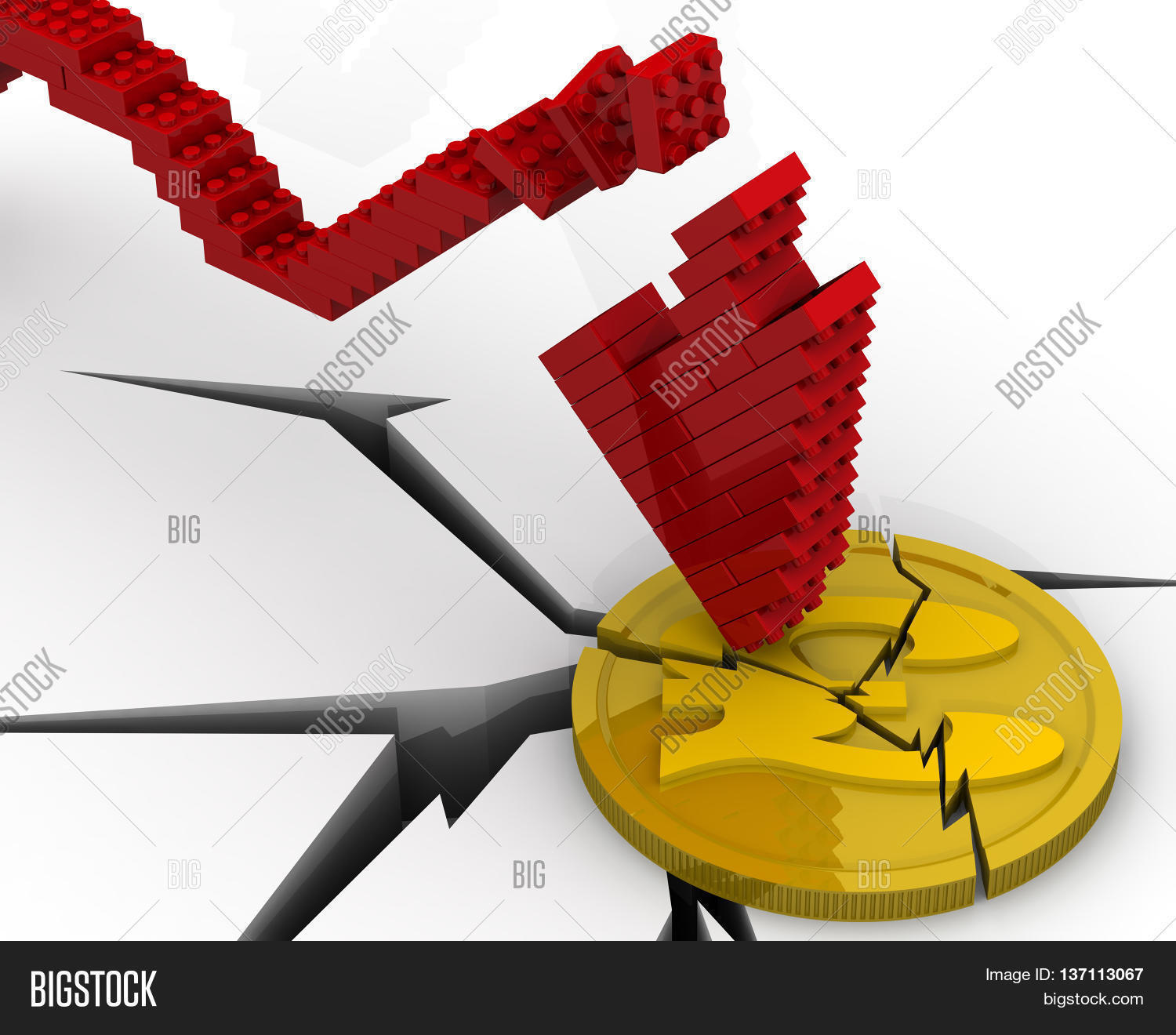 The Crisis Of The Uk Economy Cracked Coin With The Symbol Of The