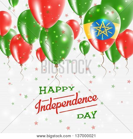 Ethiopia Vector Patriotic Poster. Independence Day Placard With Bright Colorful Balloons Of Country