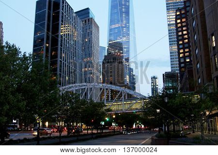Downtown New York City looking at the bottom of the Freedom tower, at dusk