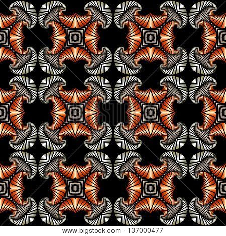 Abstract splendid seamless pattern with silver stainless steel and copper decorative elements on black background