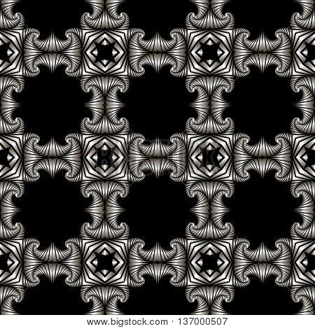 Abstract deluxe seamless pattern with silver decorative elements on black background