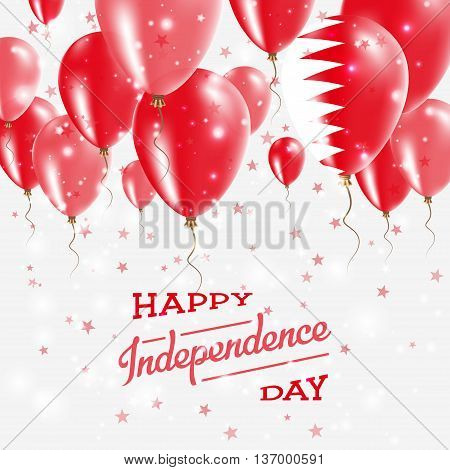 Bahrain Vector Patriotic Poster. Independence Day Placard With Bright Colorful Balloons Of Country N