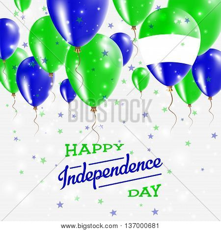Sierra Leone Vector Patriotic Poster. Independence Day Placard With Bright Colorful Balloons Of Coun