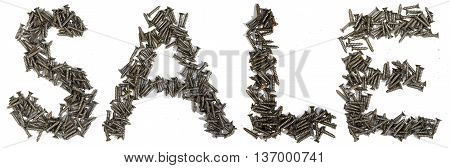 Word sale written with Stainless Self-Tapping Screw on white background. Conceptual photo.