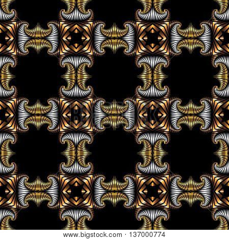 Abstract royal seamless pattern with golden silver and bronze decorative elements on black background