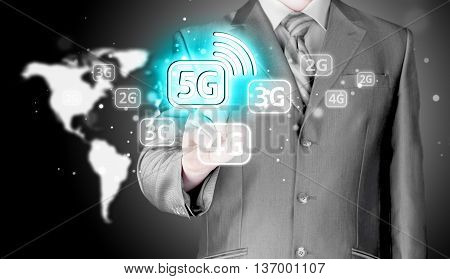 Businessman pressing data connection. High speed data connection. New modern technologies. Virtual world.