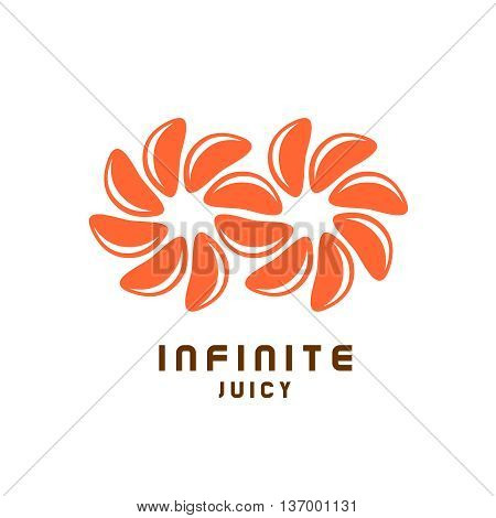 Infinity symbol logo from juicy orange tangerine pieces.