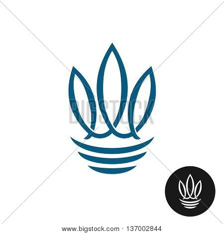 Abstract three fishes or leaves elegant logo template