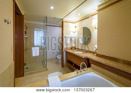 Interior design of a spacious luxury bathroom.
