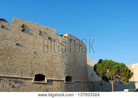 The Swabian Castle in Trani on the sea in Apulia - Italy