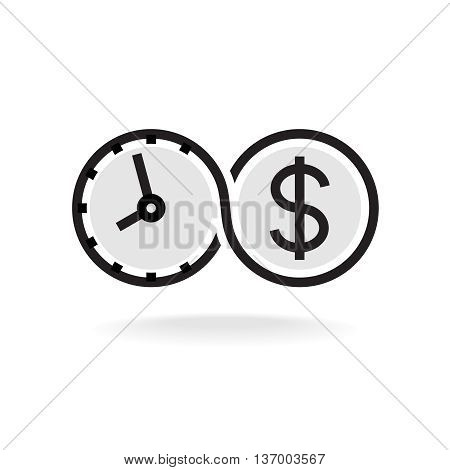 Time is money infinity symbol business logo. Black outline version.