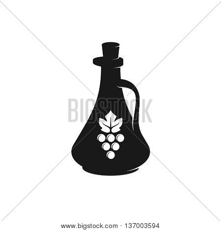 Vinegar bottle black silhouette with grape berries and leaf symbols.