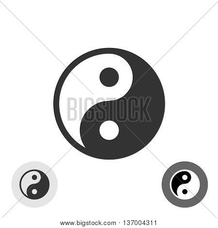 Yin-yang black vector round logo japan symbol