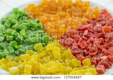 Multi coloured sweet candied dried fruits, background