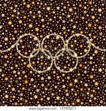 Sport abstract golden falling stars shining background with rings. Vector illustration