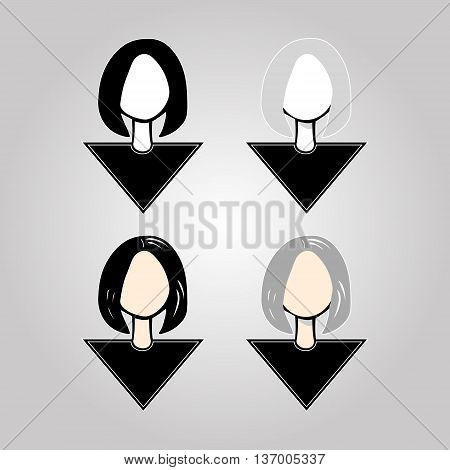 Set of icons - head girls with short hair caret vector