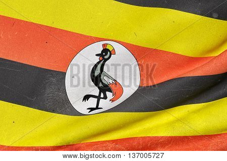 Illustration 3d rendering of Uganda flag waving