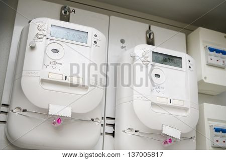 Electric Energy Meter. Pair Of Electrical Units