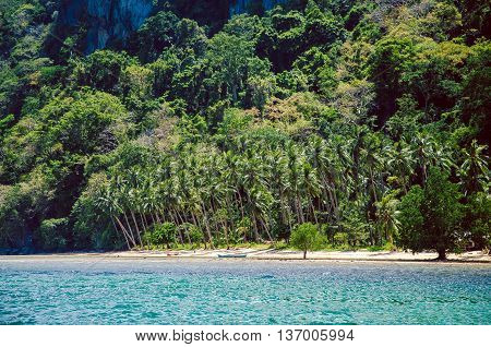 Tropical beach with palms, El Nido Palawan, Philippines Southeast Asia.