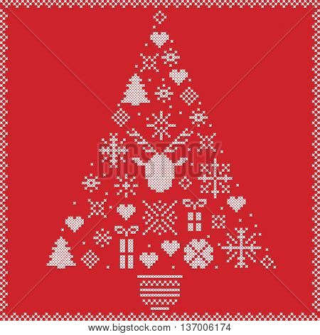 Scandinavian Norwegian style winter stitching Christmas pattern in tree shape including snowflakes, hearts, Xmas trees, snow, stars, decorative ornaments, reindeer on red background