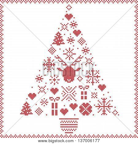 Scandinavian Norwegian style winter stitching Christmas pattern in tree shape including snowflakes, hearts, Xmas trees, snow, stars, decorative ornaments, reindeer on whitebackground