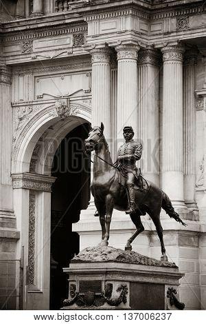 General Geo. B. Mcclellan statue in front of City Hall in Philadelphia