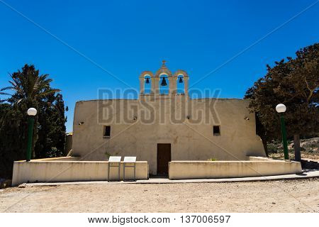 Small white chapel on the island of Comino part of the Maltese islands