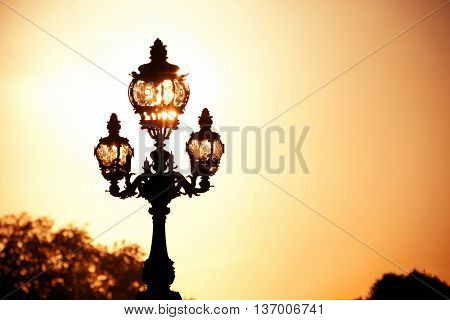 Vintage lamp post on Alexandre III bridge in Paris, France.