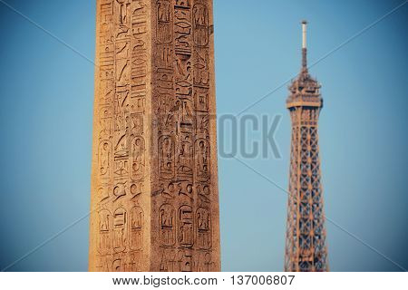 Luxor Egyptian Obelisk with Eiffel Tower at the center of Place de la Concorde