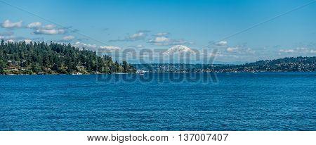 A view of majestic Mount Rainier across Lake Washington. Photo taken at Seward Park in Seattle.
