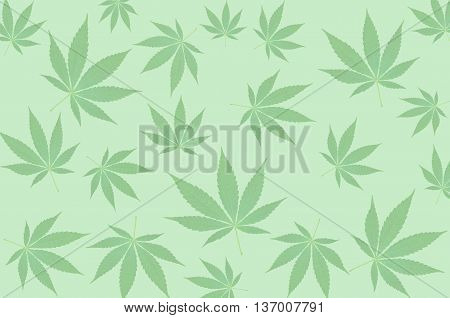 Green cannabis leafs on a green background pattern