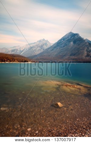 Lake Minnewanka with long exposure in Banff National Park