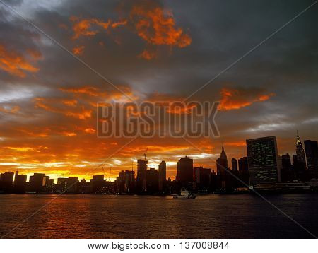 Beautiful sunset over a Manhattan, New York City.