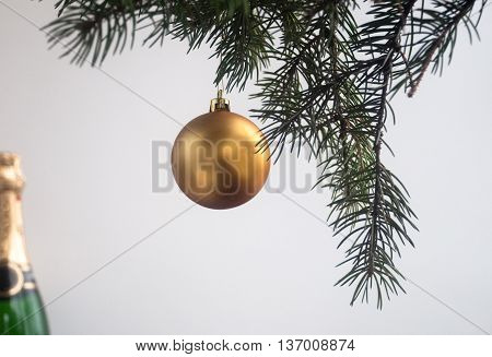The decoration of Christmas trees. On Christmas eve on the branches of a spruce hung toys and garlands.
