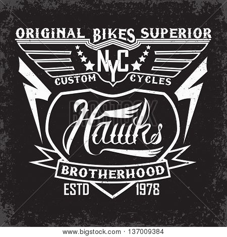 Teeshirt print design, bikers brotherhood emblem, vector